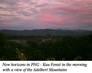 Uromi Goodale, New horizons in PNG - Kau Forest in the morning with a view of the Adelbert Mountains